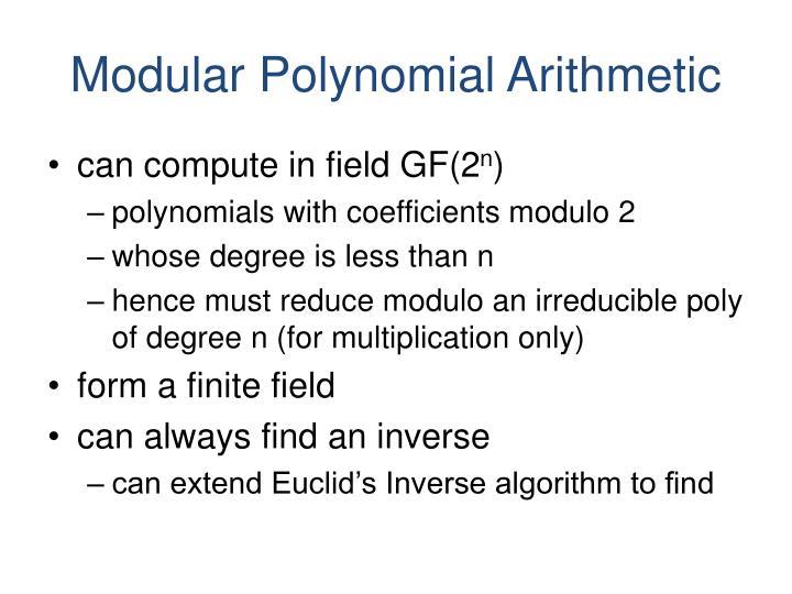 Modular Polynomial Arithmetic