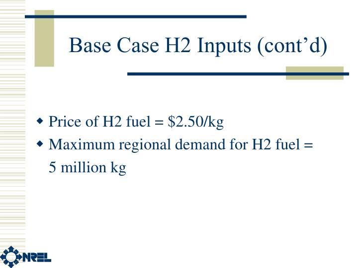 Base Case H2 Inputs (cont'd)