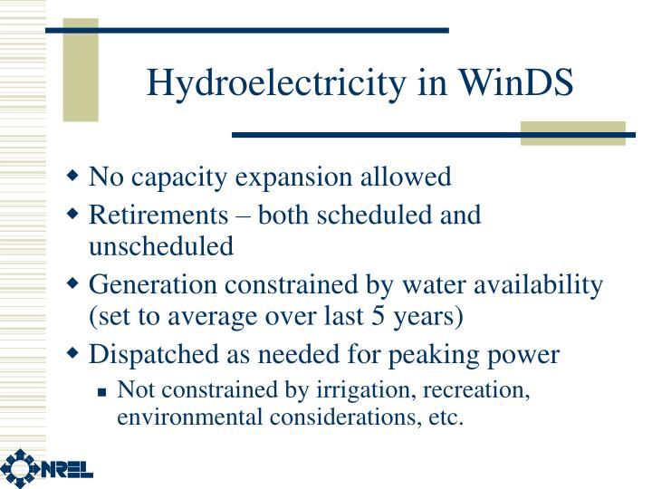 Hydroelectricity in WinDS