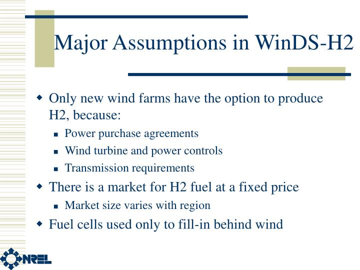 Major Assumptions in WinDS-H2
