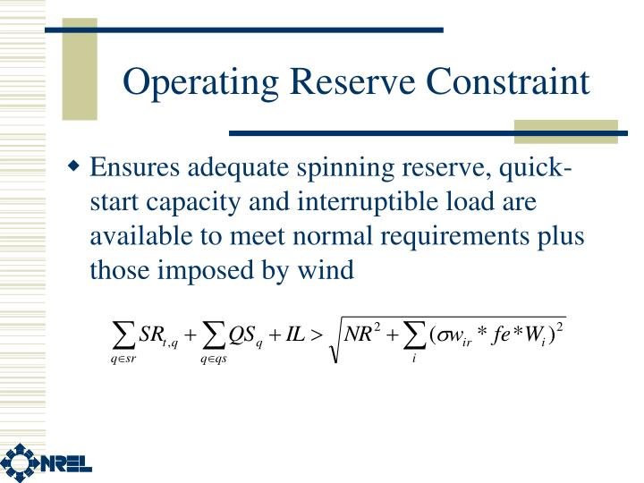 Operating Reserve Constraint