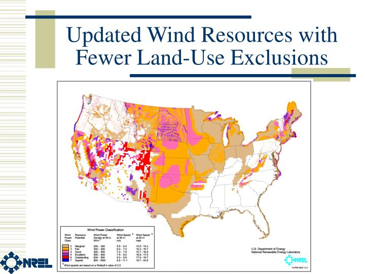 Updated Wind Resources with Fewer Land-Use Exclusions