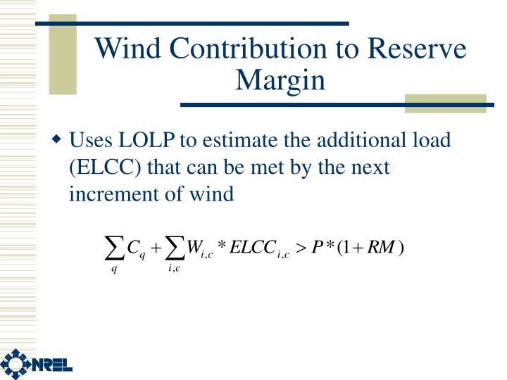 Wind Contribution to Reserve Margin