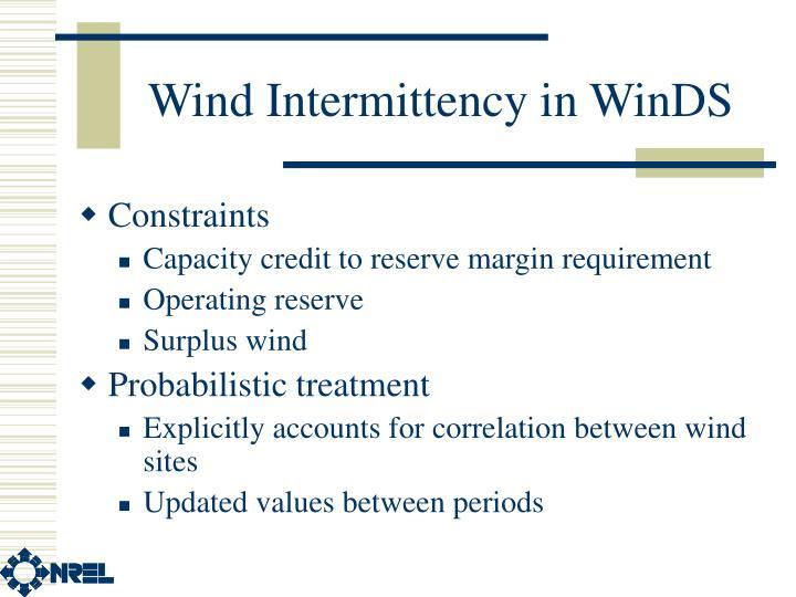 Wind Intermittency in WinDS