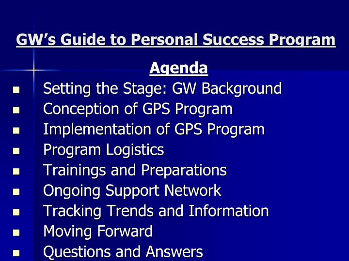 GW's Guide to Personal Success Program