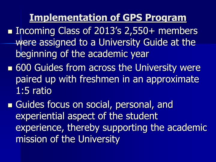 Implementation of GPS Program