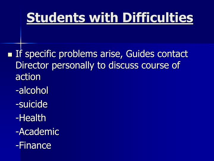 Students with Difficulties