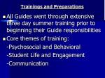 trainings and preparations
