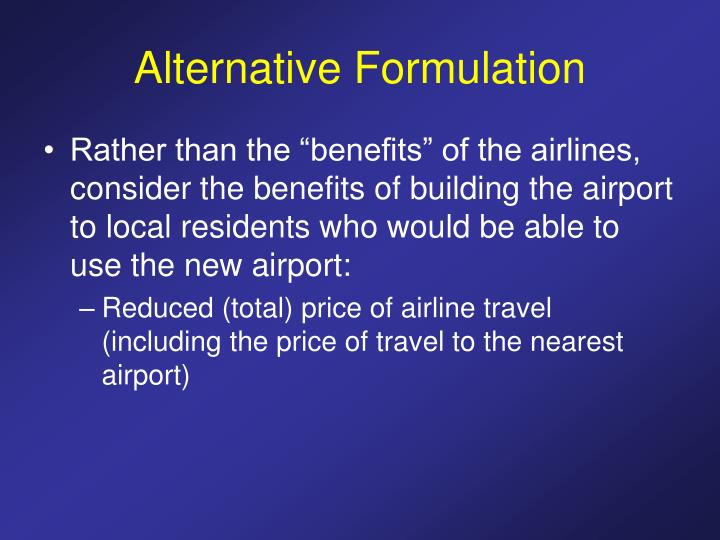 Alternative Formulation
