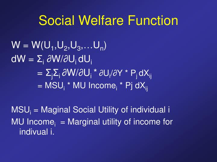 Social Welfare Function