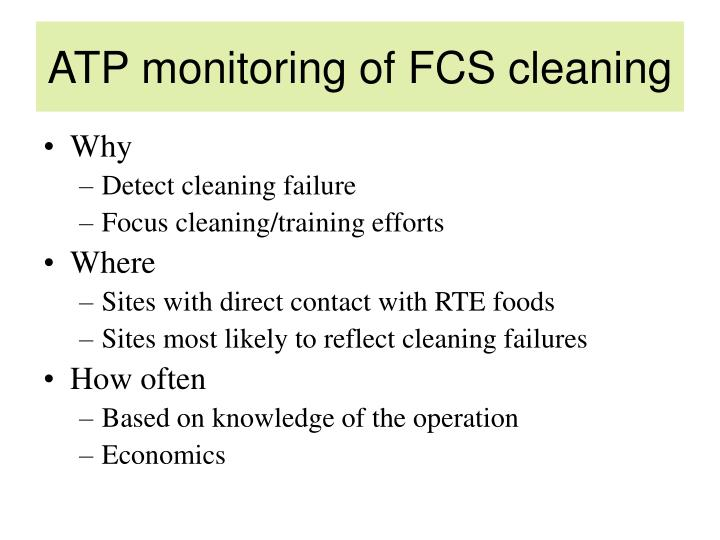 ATP monitoring of FCS cleaning