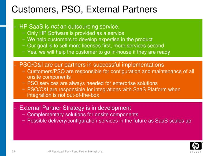 Customers, PSO, External Partners