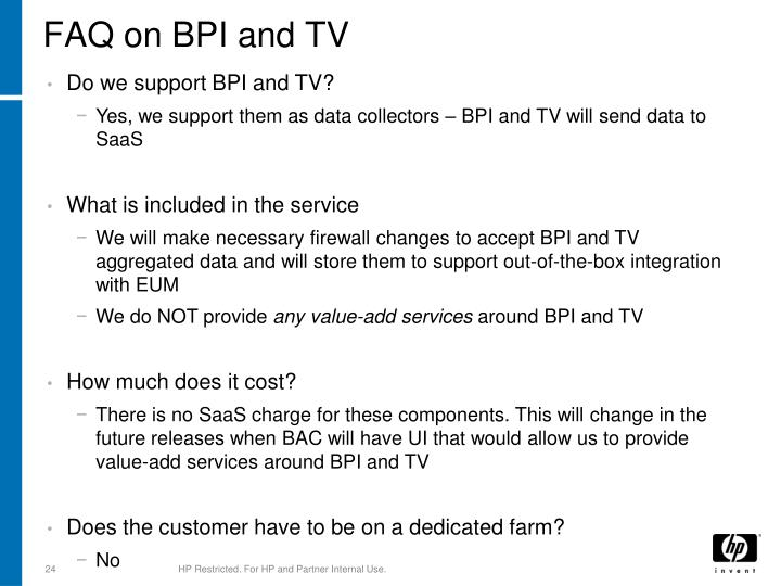 FAQ on BPI and TV