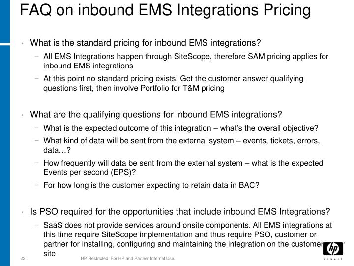 FAQ on inbound EMS Integrations Pricing
