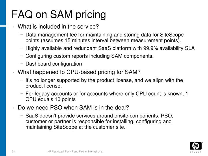 FAQ on SAM pricing