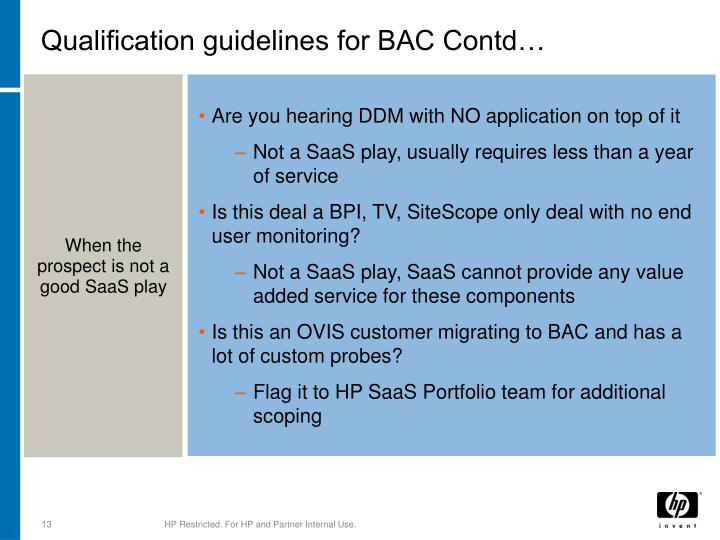 Qualification guidelines for BAC Contd…