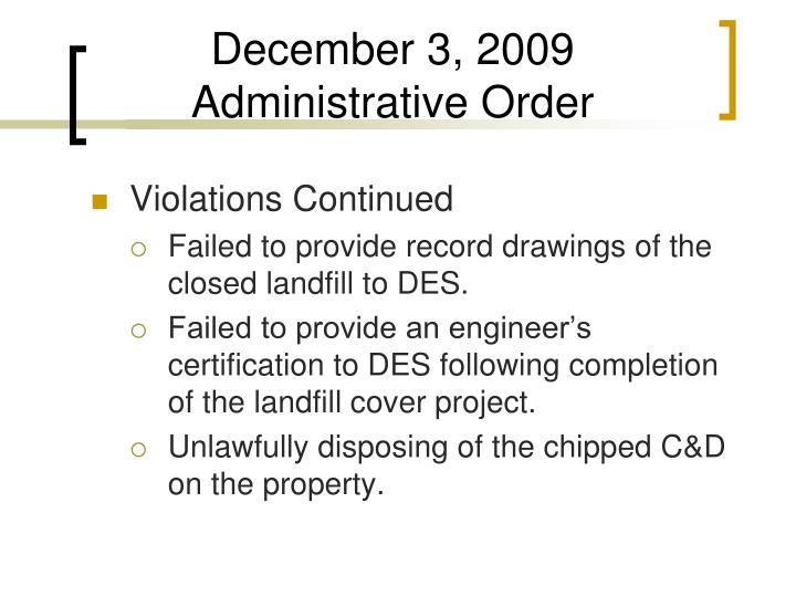December 3, 2009 Administrative Order