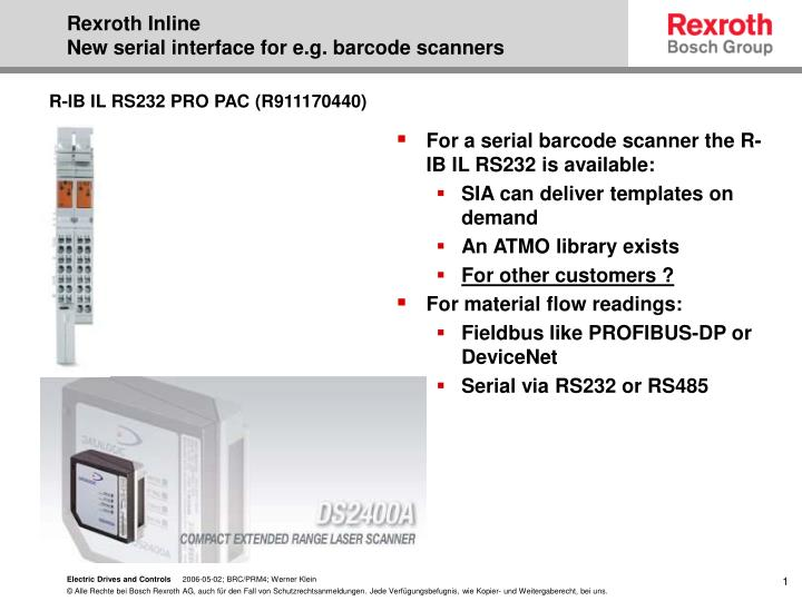 Rexroth inline new serial interface for e g barcode scanners