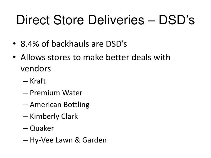 Direct Store Deliveries – DSD's
