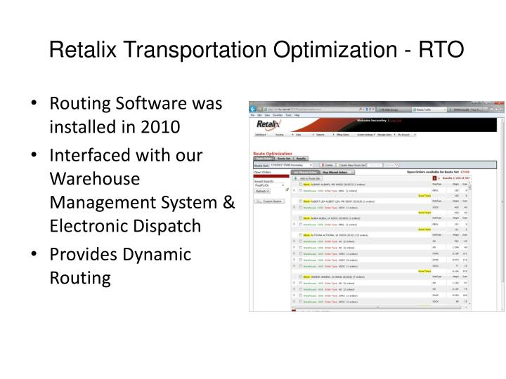 Retalix Transportation Optimization - RTO