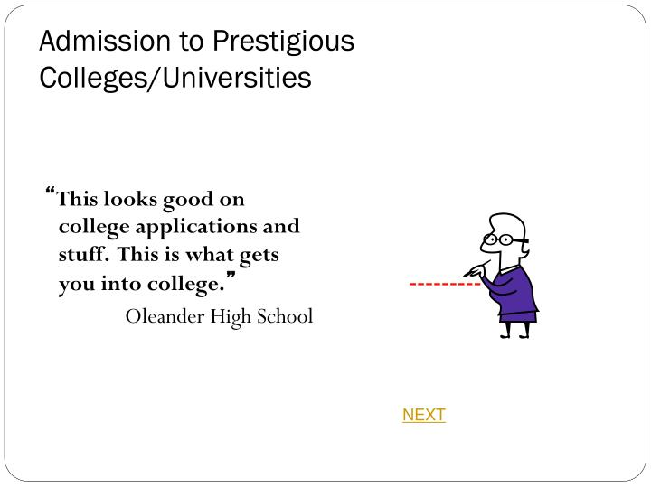 Admission to Prestigious