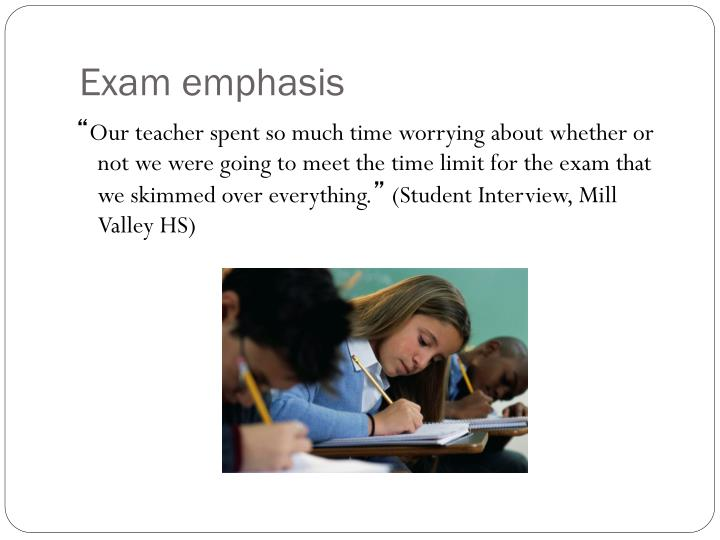Exam emphasis