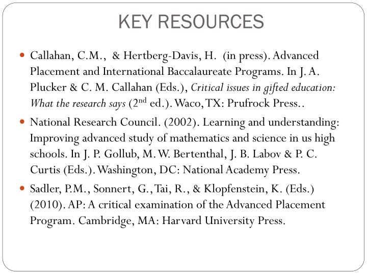 KEY RESOURCES