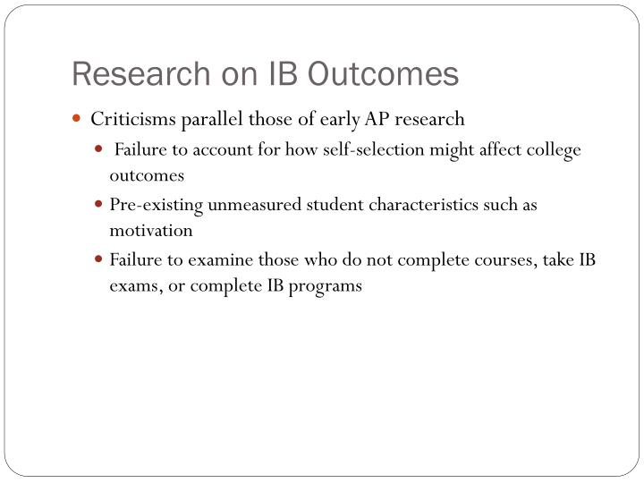Research on IB Outcomes