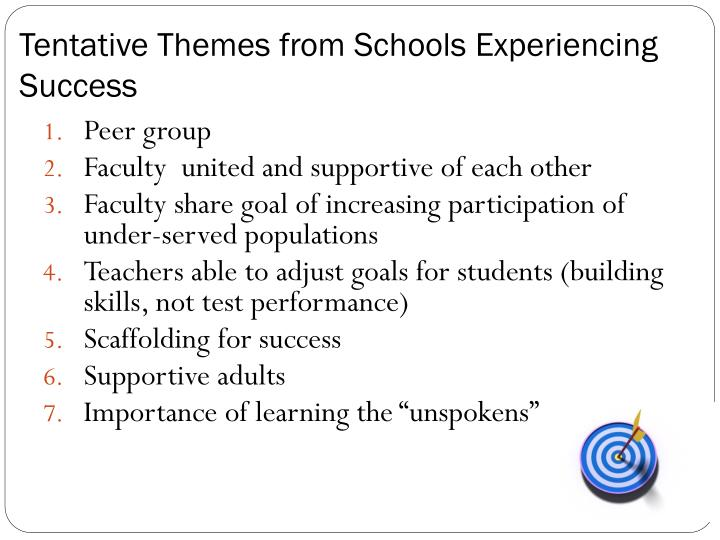 Tentative Themes from Schools