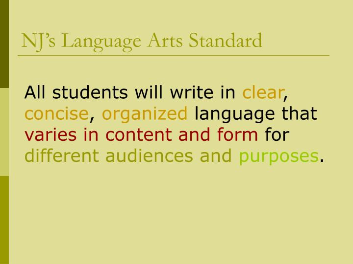 NJ's Language Arts Standard