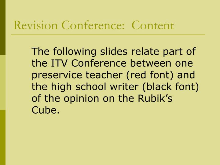 Revision Conference:  Content