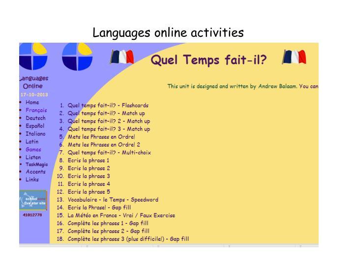 Languages online activities