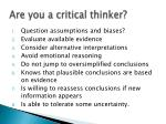 are you a critical thinker