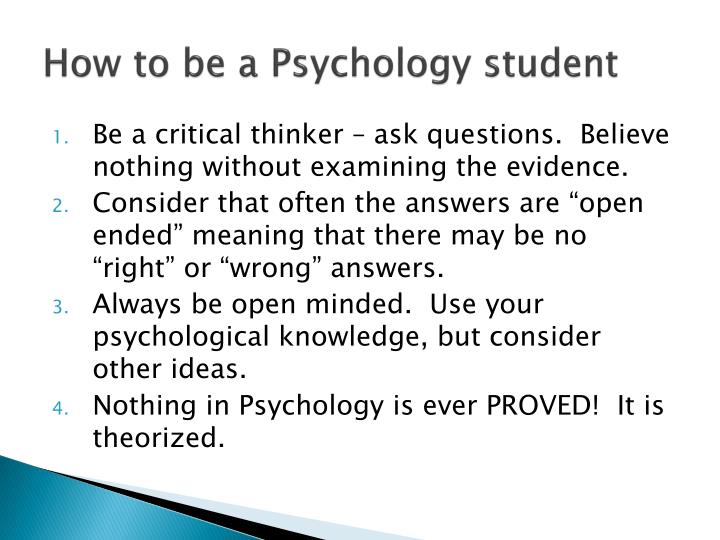 How to be a psychology student
