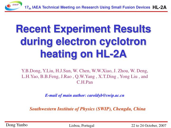 Recent experiment results during electron cyclotron heating on hl 2a