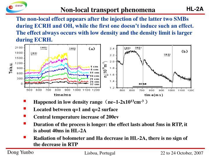 Non-local transport phenomena