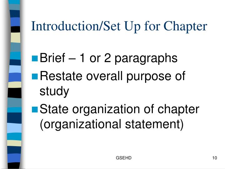 Introduction/Set Up for Chapter