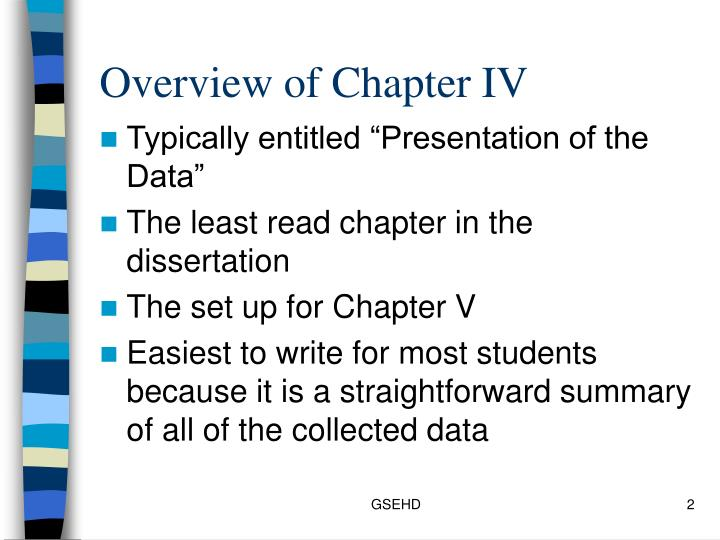 Overview of Chapter IV