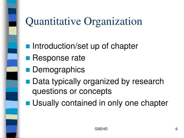 Quantitative Organization