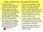 new mechanism toriodal b field flip