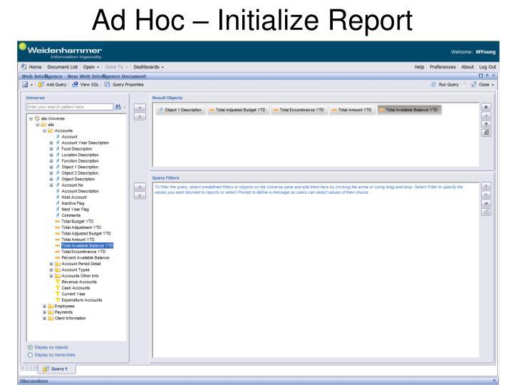 Ad Hoc – Initialize Report