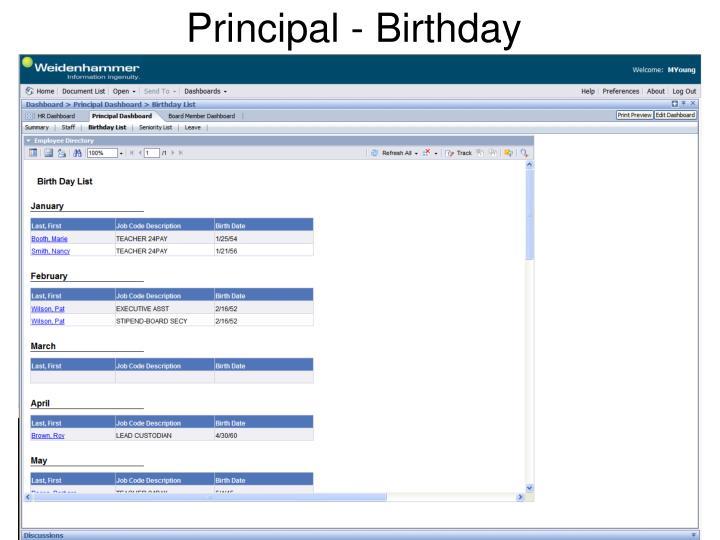 Principal - Birthday
