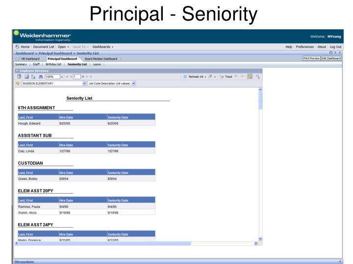 Principal - Seniority