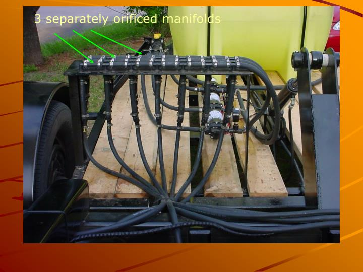 3 separately orificed manifolds