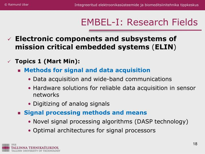 EMBEL-I: Research Fields