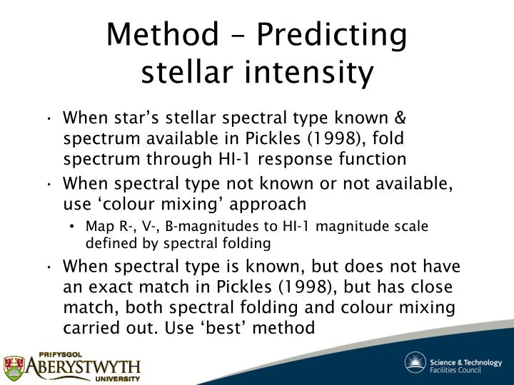 Method – Predicting stellar intensity