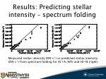results predicting stellar intensity spectrum folding