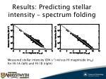 results predicting stellar intensity spectrum folding1