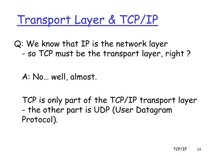 Transport Layer & TCP/IP