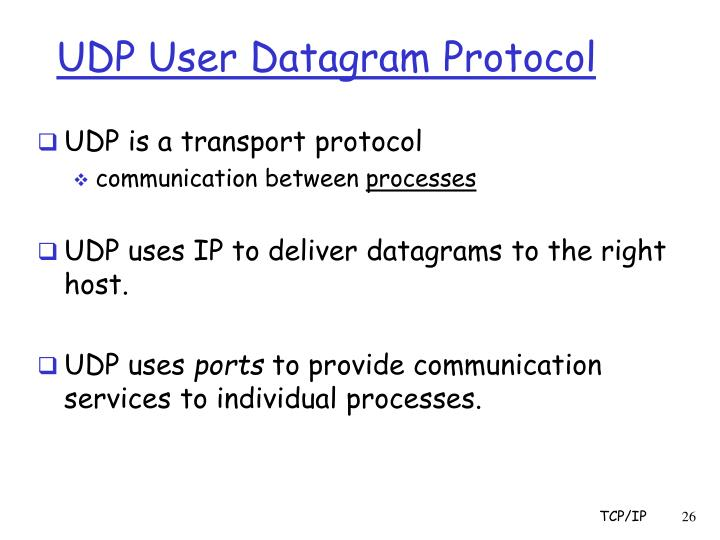 UDP User Datagram Protocol